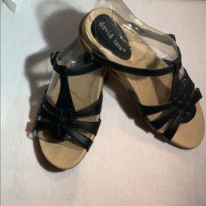 David Tate black, size 6 leather, slide sandals.
